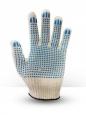 Перчатки хб 4 нитки белые с пвх точка - эконом