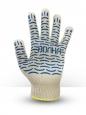 Перчатки хб 5 ниток белые с пвх волна