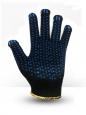 Перчатки хб 8 ниток черные (двойные) с ПВХ