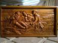 Панно деревянное резное «Охотники на привале»