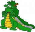 Игровое оборудование «Динозаврик-горка»,Hгорки=600мм, 2420х1220х600мм