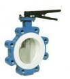 Затвор AWTek LPT для межфланцевой установки с центрально расположенным диском и уплотнением PTFE.