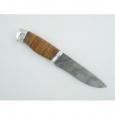 Охотничий нож Н1 из дамасской стали, береста наборная, дюраль