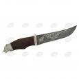 Нож подарочный Н5- «Тифлис» из дамаска, орех, латунь в никеле, литье «Медведь»