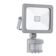 Уличный светодиодный светильник настенный FAEDO 1 с датчиком движ., 10W (LED), 130х190,  алюминий, серебряный/стекло