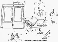 Установка отопителя-вентилятора Т-170