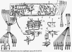 Подсоединение проводов и жгутов к приборам щитка 50-10-427СП Т-170