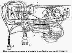 Подсоединение проводов и жгутов к приборам щитка 50-10-426СП Т-170