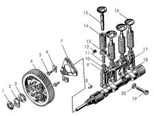 Механизм газораспределения пускового двигателя Т-170