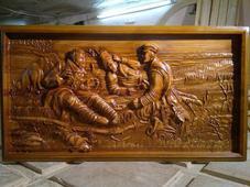 Панно деревянное резное «Охотники на привале». Челябинск