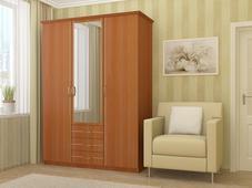 Шкаф 3-х створчатый с выкатными ящиками с золотой раскладкой. Челябинск