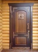 д5 Кованые накладки на двери с колотушкой и ручкой. Челябинск