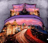 Комплект постельного белья Евро-стандарт сатин 3D Огни Москвы от ТМ. Челябинск