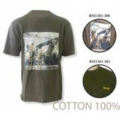 Джемпер (футболка, хлопок, с принтом) с коротким рукавом Remington. р. L (хаки), RM1301-365, шт. Челябинск